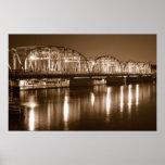 bridge, frozen, river., infrared, night, shot