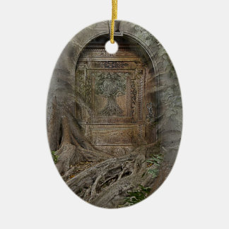 Door into the Realm Double-Sided Oval Ceramic Christmas Ornament