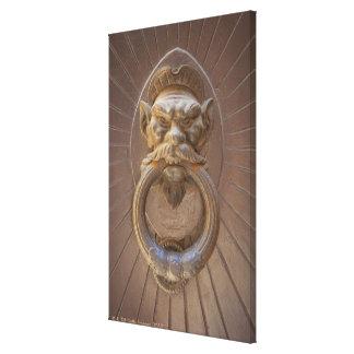 Door knocker in Siena, Italy. Canvas Print