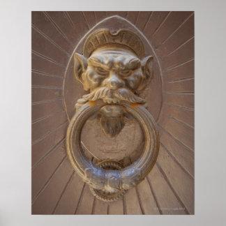 Door knocker in Siena, Italy. Poster