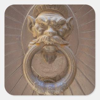 Door knocker in Siena, Italy. Square Sticker