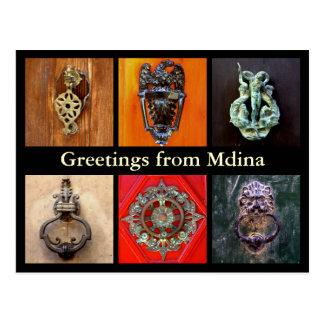 Door knockers in Mdina Postcard