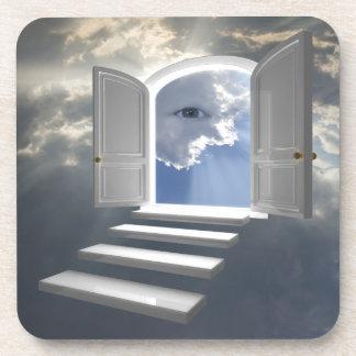 Door opened on a mystic eye coasters