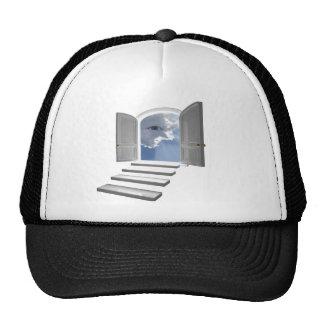 Door opened on a mystic eye trucker hat