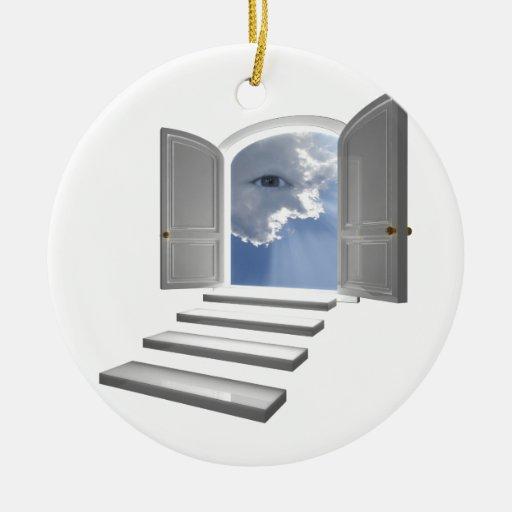 Door opened on a mystic eye christmas tree ornaments