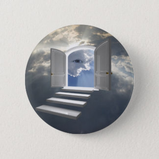 Door opened on a mystic eye pinback button