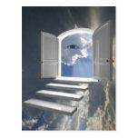 Door opened on a mystic eye postcard