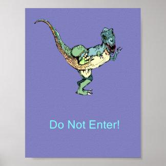 Door Poster Do Not Enter! - Dinosaur