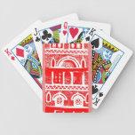 Door & windows in red deck of cards