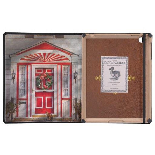 Door - Winter - Christmas kitty Case For iPad