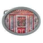 Door - Winter - Christmas kitty Oval Belt Buckles