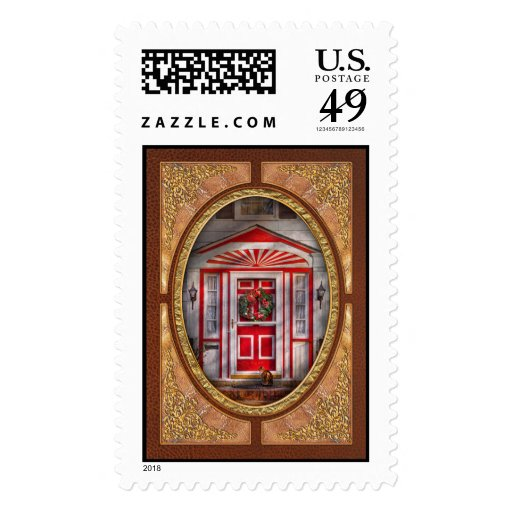 Door - Winter - Christmas kitty Postage