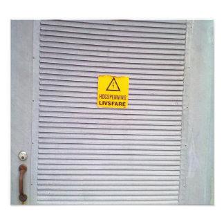 Door with danger warning on photo print