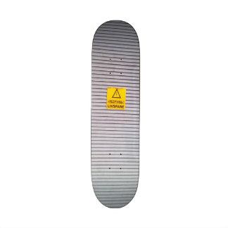 Door with danger warning on skateboard decks