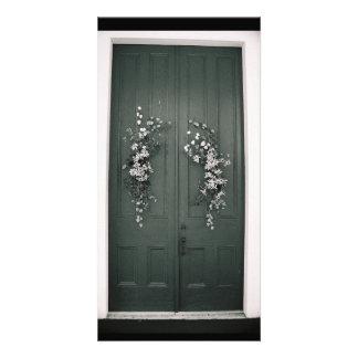 Door with flowers card