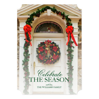 Door with wreath and Christmas decorations. Card
