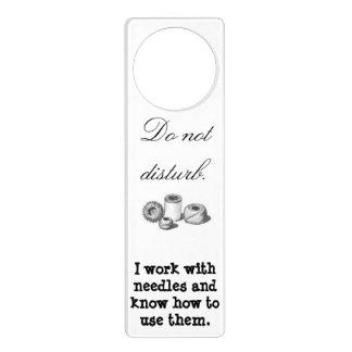 Doorhanger for stitching people