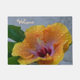 Doormat de la recepción de la flor del hibisco de felpudo