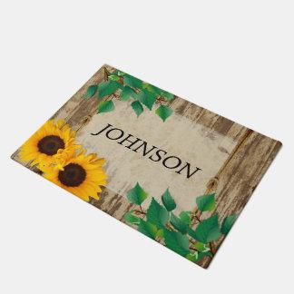 Doormat de madera el | Zazzle del girasol del Felpudo