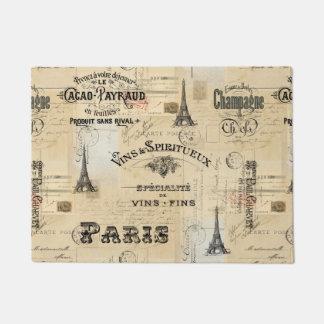 Doormat francés de la postal del collage de la felpudo