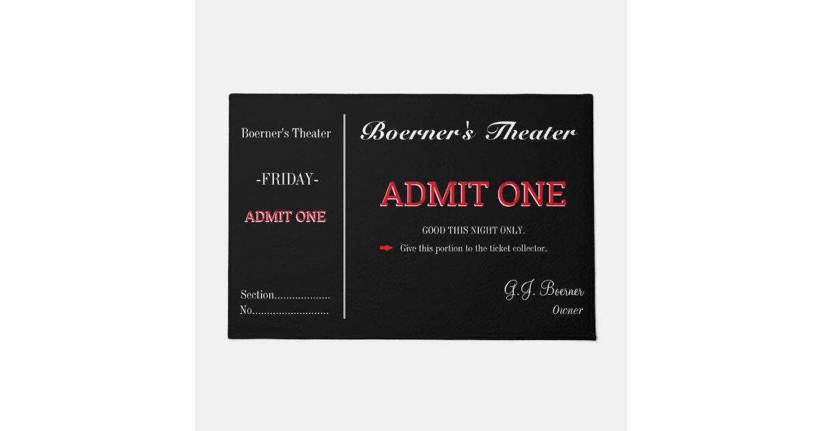 Doormat Home Movie Theater Tv Room Ticket Rug Zazzle Com