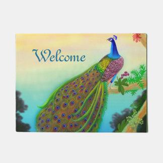 Doormat indio azul exótico del pavo real felpudo