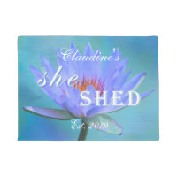 Doormat Rug She Shed Shades of Blue Water Lily