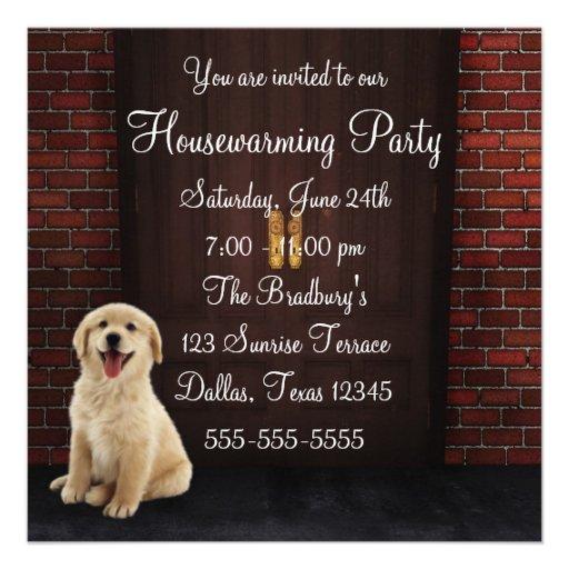 Doors Dog Brick Wall Housewarming Party Custom Announcement