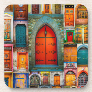 Doors of the World Red Fine Art Beverage Coaster