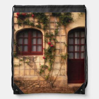 Doorway of rose cottage drawstring bag