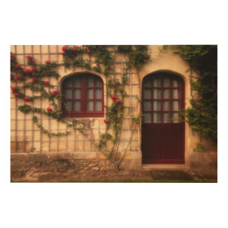 Doorway of rose cottage wood wall art