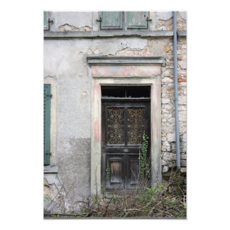 Doorway on abandoned building, Basel, Switzerland Photo Art