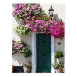 Doorway surrounded by flowers postcard