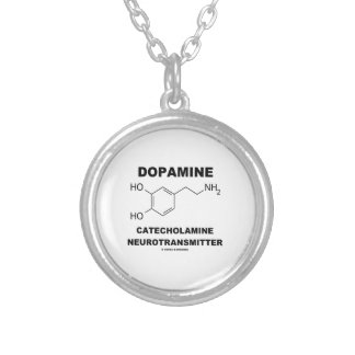 Dopamine Catecholamine Neurotransmitter Silver Plated Necklace