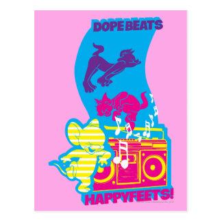 Dope Beats Happy Feets Postcard