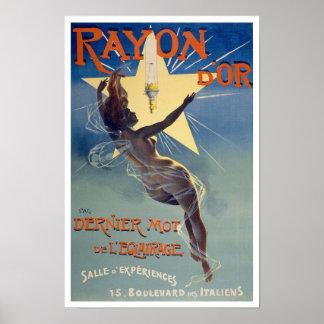 d'Or del rayón, 1895. Publicidad de la iluminación Póster