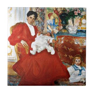 Dora Lamm y sus hijos Azulejo Cuadrado Pequeño