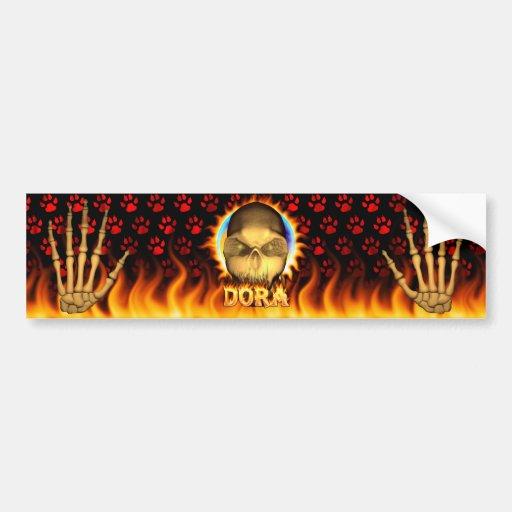 Dora skull real fire and flames bumper sticker. car bumper sticker