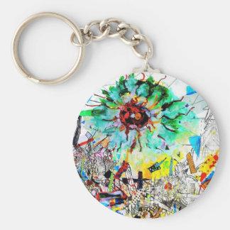 Doraelia Ruiz Collection Neo, Neon colorful city Basic Round Button Keychain