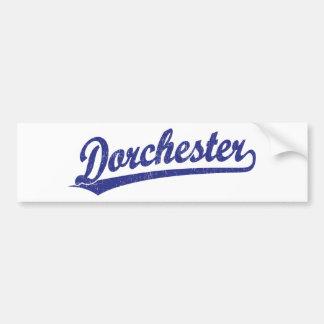Dorchester script logo in blue bumper sticker