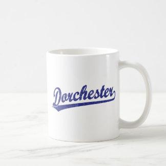 Dorchester script logo in blue coffee mug