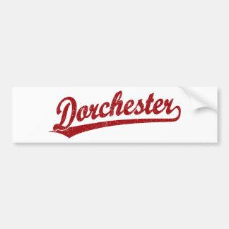 Dorchester script logo in red bumper sticker