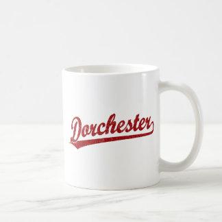 Dorchester script logo in red coffee mug