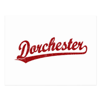 Dorchester script logo in red postcard