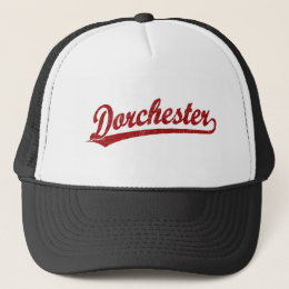 Dorchester script logo in red trucker hat