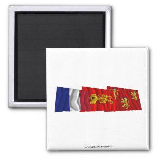 Dordogne, Aquitaine & France flags Fridge Magnet