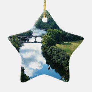 Dordogne Chateau Castle River Boat Bridge Water Ceramic Ornament