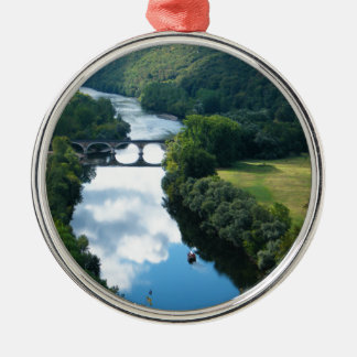 Dordogne Chateau Castle River Boat Bridge Water Metal Ornament