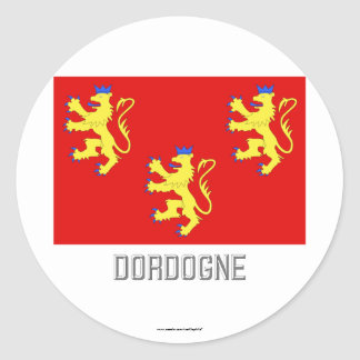 Dordogne flag with name classic round sticker