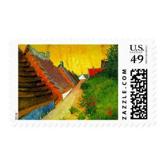 Dorfstrasse at Sainte-Maries painting by Van Gogh Stamp